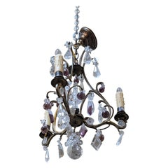 19th Century Bronze & Crystal Chandelier from France
