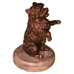 19th Century bronze Dog Inkwell