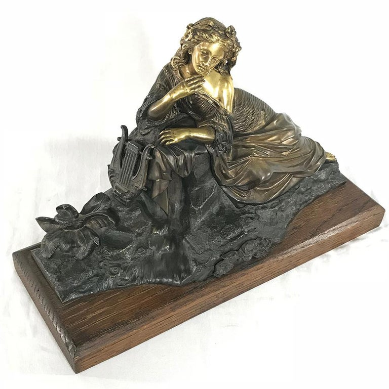 19th Century Bronze D'Or Statue of Maiden For Sale 3