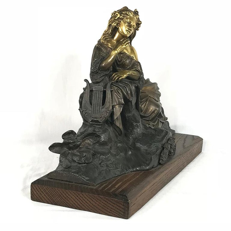 Belle Époque 19th Century Bronze D'Or Statue of Maiden For Sale