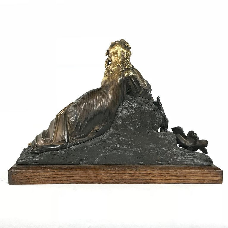 Gilt 19th Century Bronze D'Or Statue of Maiden For Sale