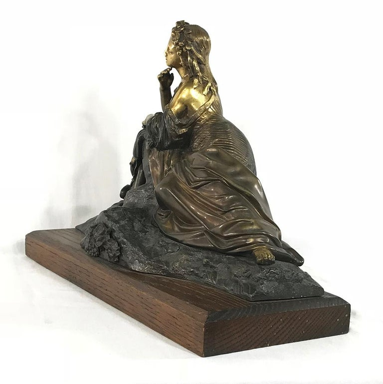 19th Century Bronze D'Or Statue of Maiden In Good Condition For Sale In Dallas, TX