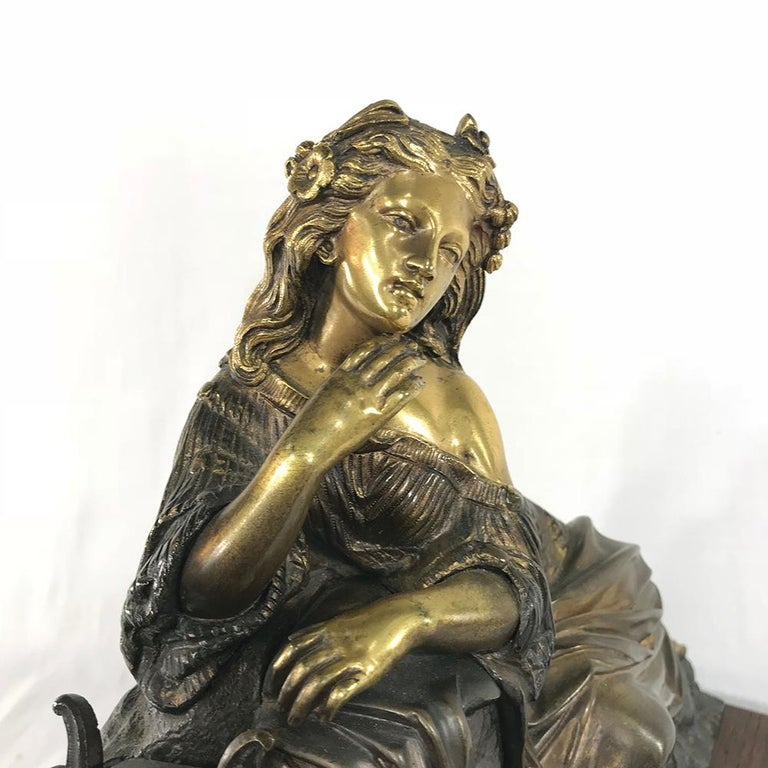 Late 19th Century 19th Century Bronze D'Or Statue of Maiden For Sale