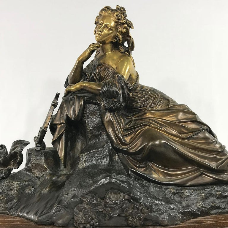 19th Century Bronze D'Or Statue of Maiden For Sale 1