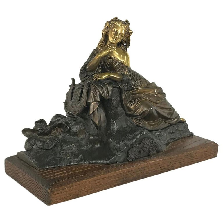 19th Century Bronze D'Or Statue of Maiden For Sale
