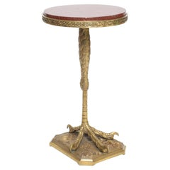 19th Century Bronze Doré Talon Table with Marble Top