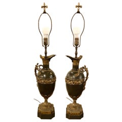 19th Century Bronze Ewer Urn Form Table Lamps, a Pair Louis XVI Neoclassical