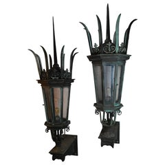 19th Century Bronze Exceptional Massive Exterior Gothic Wall Sconces