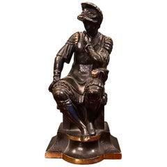 19th Century Bronze Figure of Lorenzo de Medici The Thinker after Michelangelo