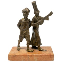 19th Century Bronze Figure of Two Street Boys with Marble Base