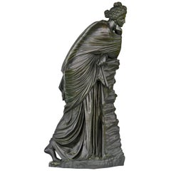 """19th Century Bronze Figure """"Polyhymnia"""" Sign. J.Walz. Muse"""