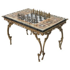 19th Century Bronze Game of Chess with Marble-Top and Bronze Legs Table