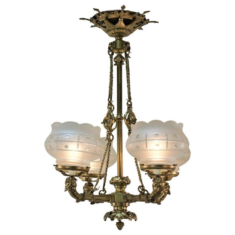 19th Century Bronze Gas Chandelier At, Gas Light Style Chandelier