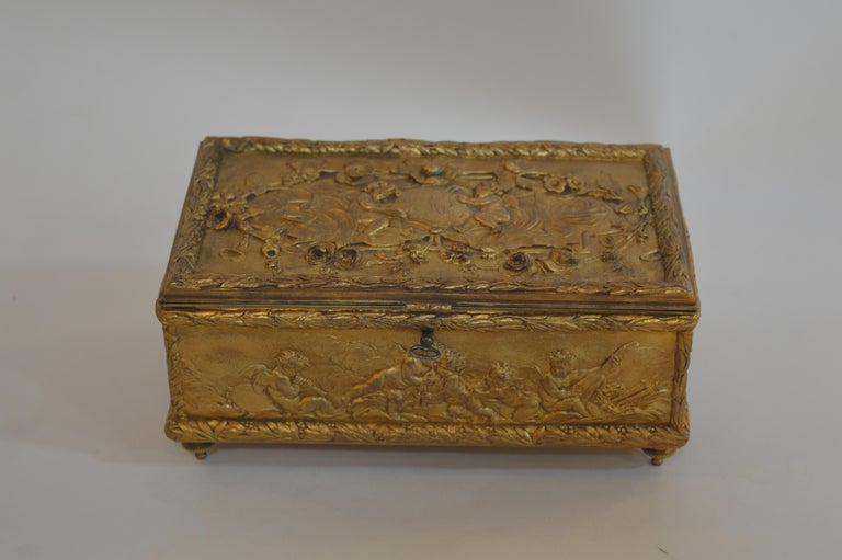 Italian 19th century bronze gold-plated box.