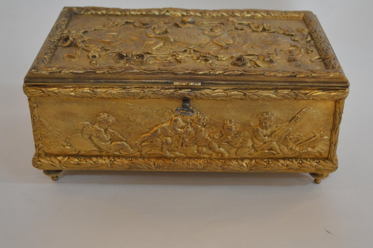 Italian 19th Century Bronze Gold-Plated Box For Sale