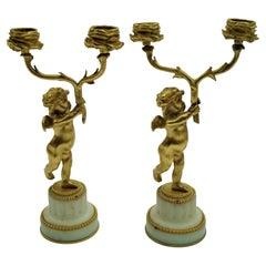 19th Century Bronze Gold-Plated Two-Arm Cherub Figural Candelabras, F. Linke