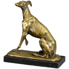 19th Century Bronze Greyhound
