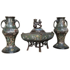 19th Century Bronze Japanese Cloisonné Three-Piece Mantel Set, Japan Champlevé