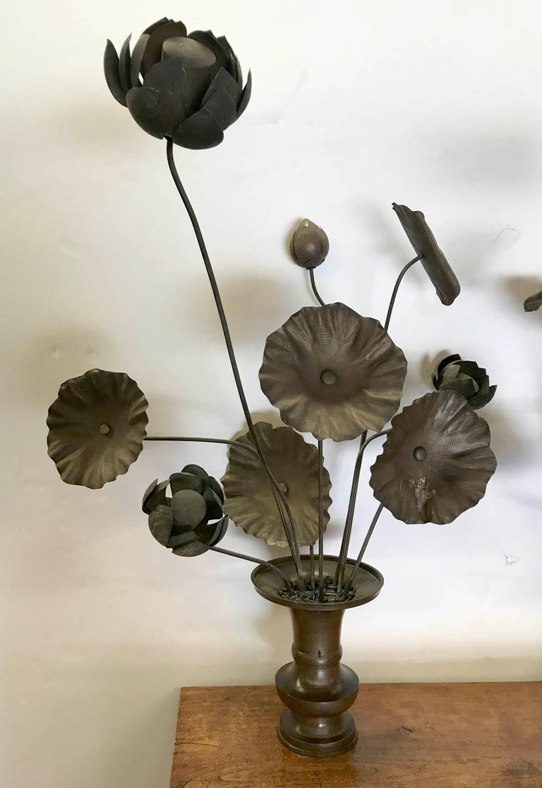 Edo 19th Century Bronze Japanese Temple Flowers For Sale