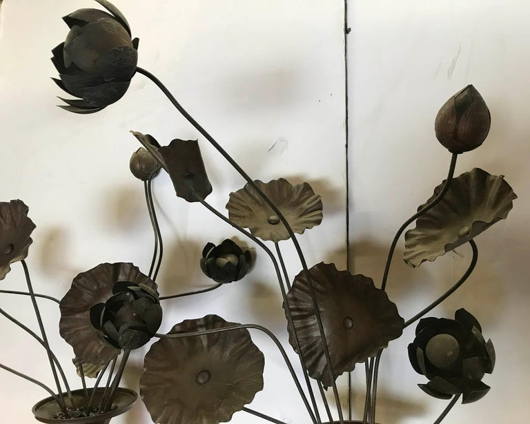 19th Century Bronze Japanese Temple Flowers In Good Condition For Sale In Los Angeles, CA