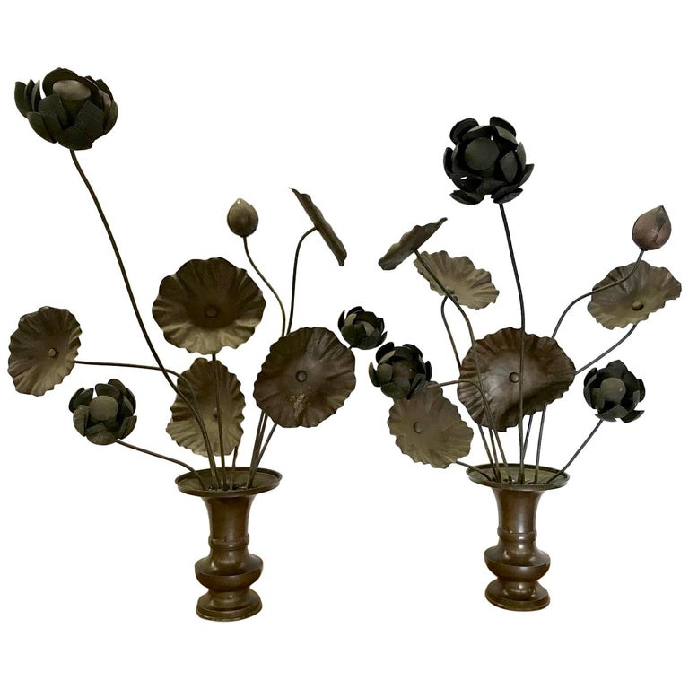 19th Century Bronze Japanese Temple Flowers For Sale