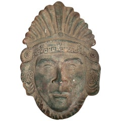 19th Century Bronze Mask Head of a Mexican Aztec
