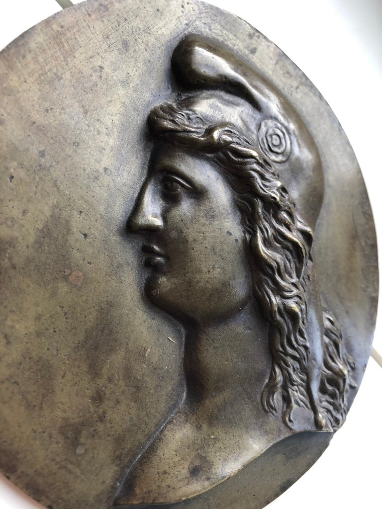19th Century Bronze Medallion Signed by L.Noël in 1880 In Good Condition For Sale In London, GB