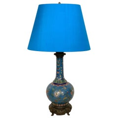 19th Century Bronze-Mounted Chinese Enamel Coated Metal Table Lamp, circa 1880