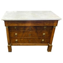 19th Century Bronze Mounted French Empire Marble Top Walnut Chest