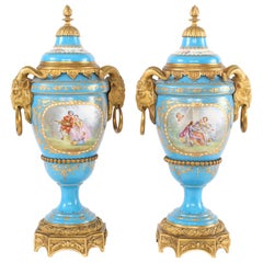 19th Century Bronze Mounted / Porcelain Covered Urns
