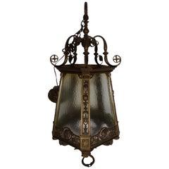 19th Century Bronze Pendant Garden Lamp