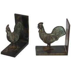 19th Century Bronze Rooster Bookends, Pair