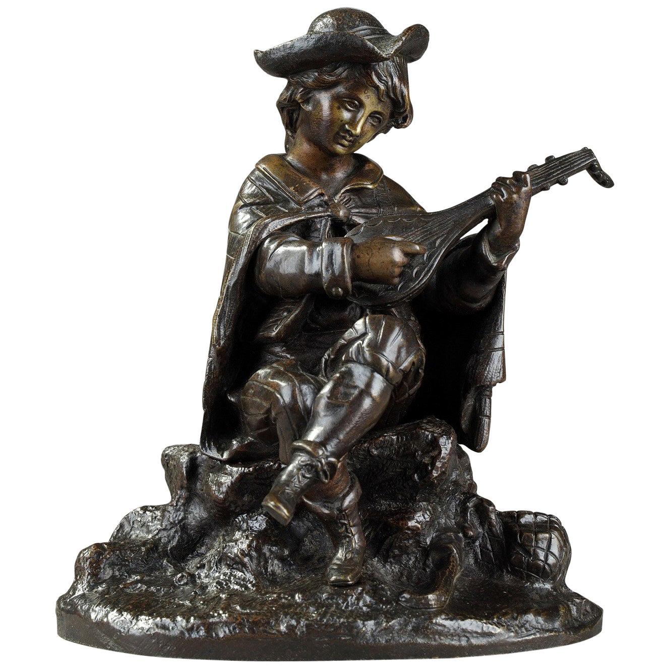 19th Century Bronze Sculpture Mandolin Player