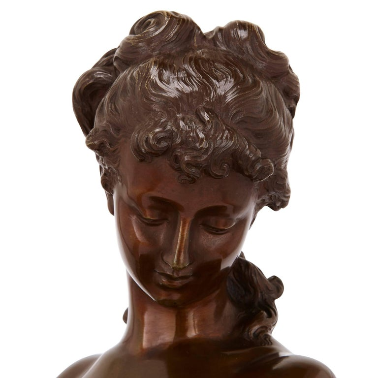 Patinated 19th Century Bronze Sculpture of a Lady by Moreau For Sale