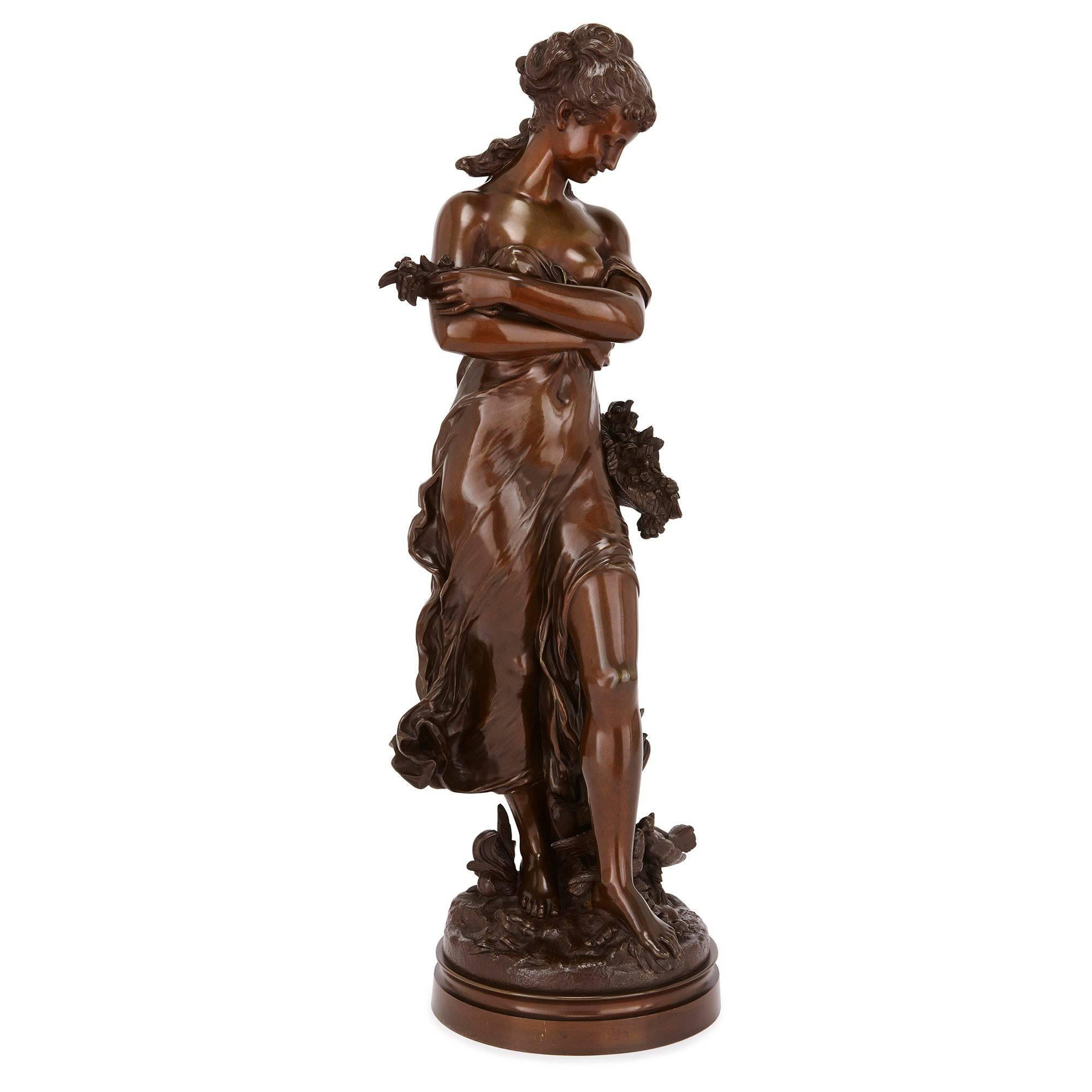 19th Century Bronze Sculpture of a Lady by Moreau