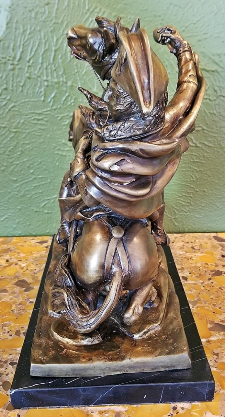 Hand-Crafted 19th Century Bronze Sculpture of Napoleon Crossing the Alps For Sale