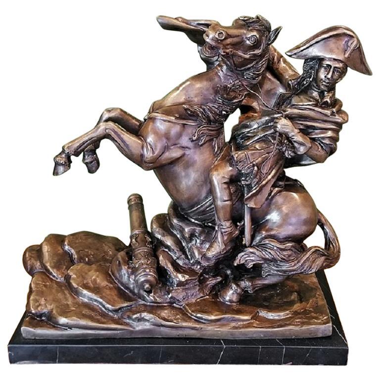 19th Century Bronze Sculpture of Napoleon Crossing the Alps