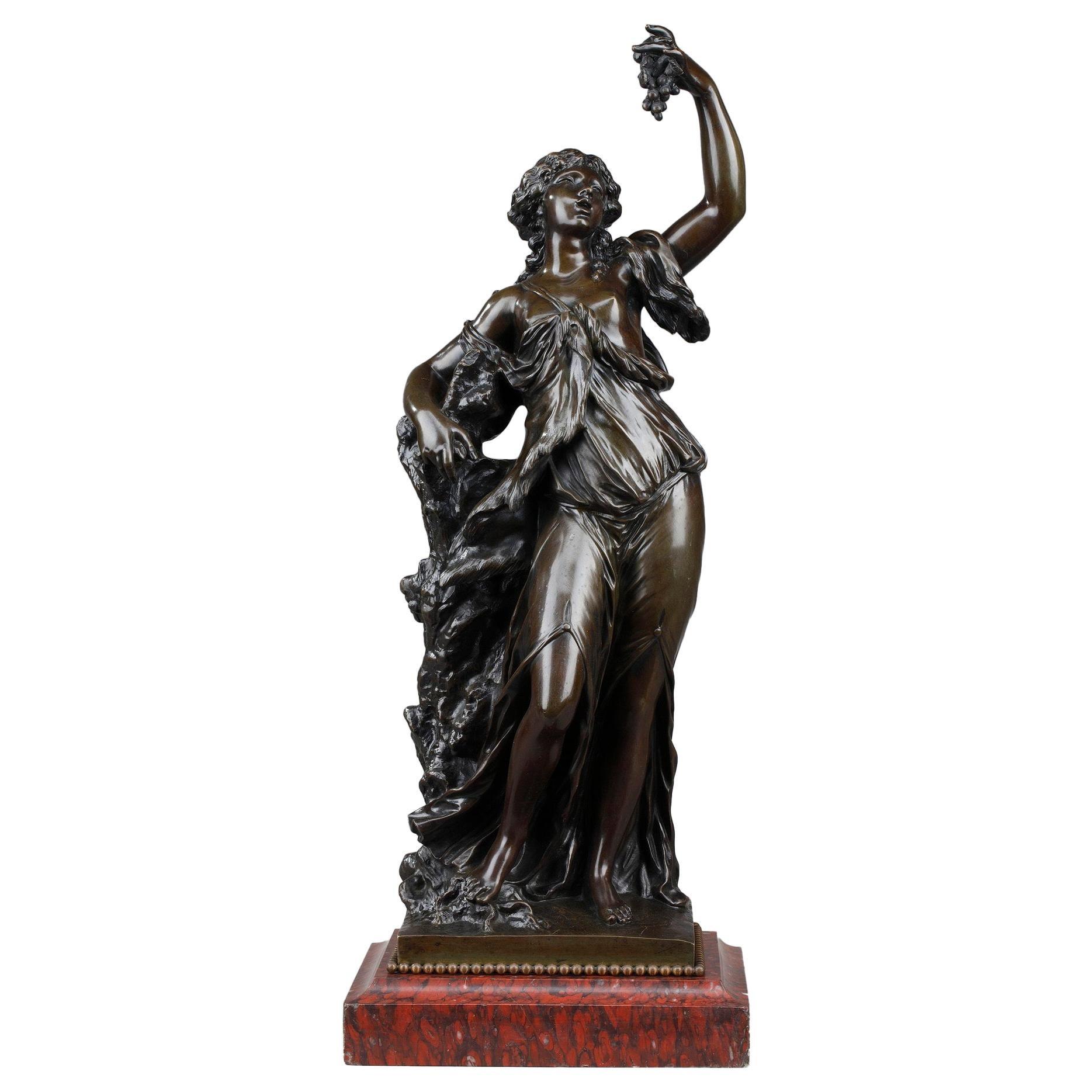19th Century Bronze Statue: Bacchante