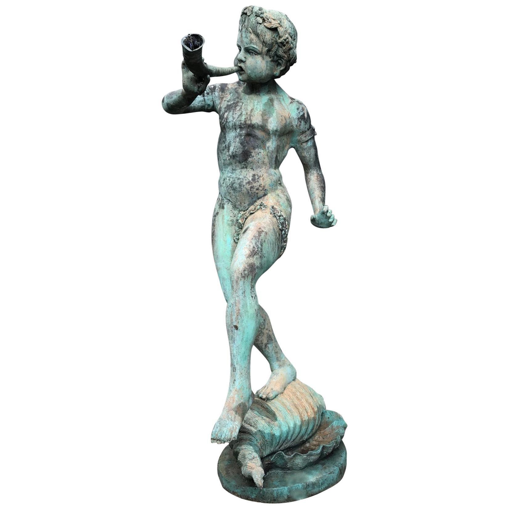 19th Century Bronze Statue Center Fountain Decorative Garden Ornament Spout  La