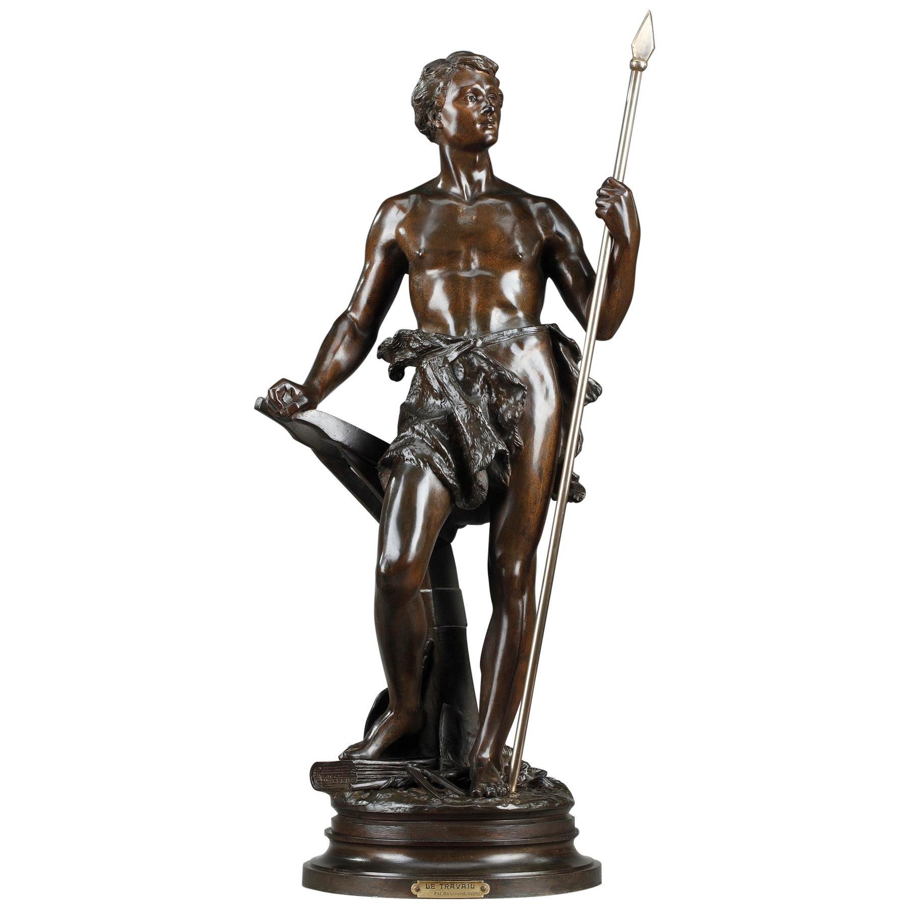 19th Century Bronze Statue: Le Travail, by Ernest Rancoulet
