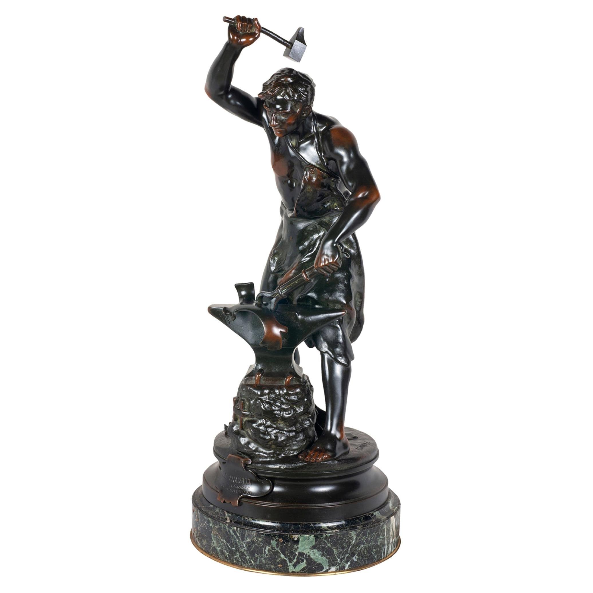 19th Century Bronze Statue of a Blacksmith, Signed Gaudez