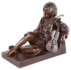 19th Century Bronze Statue of a Boy Violinist, Leon Tharel
