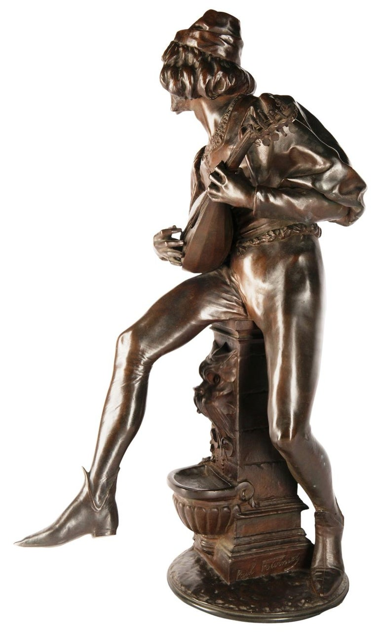 French 19th Century Bronze Statue of a Minstrel, Signed Paul Fournier For Sale