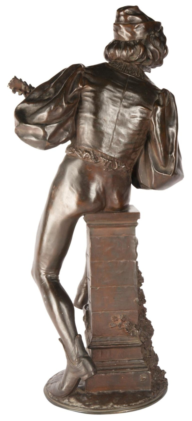 Cast 19th Century Bronze Statue of a Minstrel, Signed Paul Fournier For Sale
