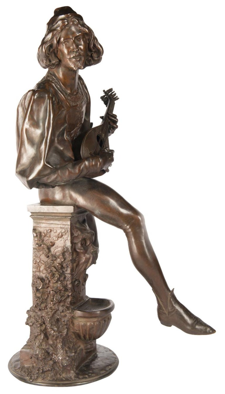 19th Century Bronze Statue of a Minstrel, Signed Paul Fournier In Good Condition For Sale In Brighton, Sussex