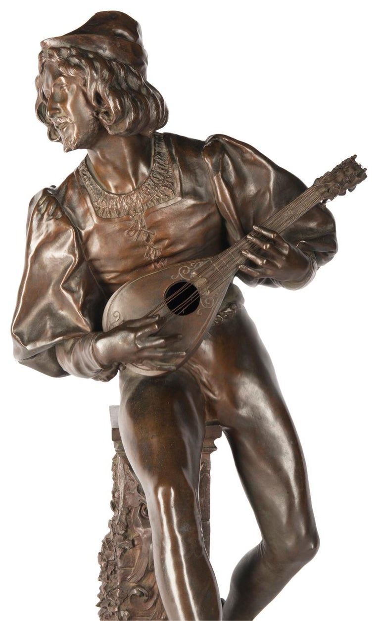 19th Century Bronze Statue of a Minstrel, Signed Paul Fournier For Sale 1