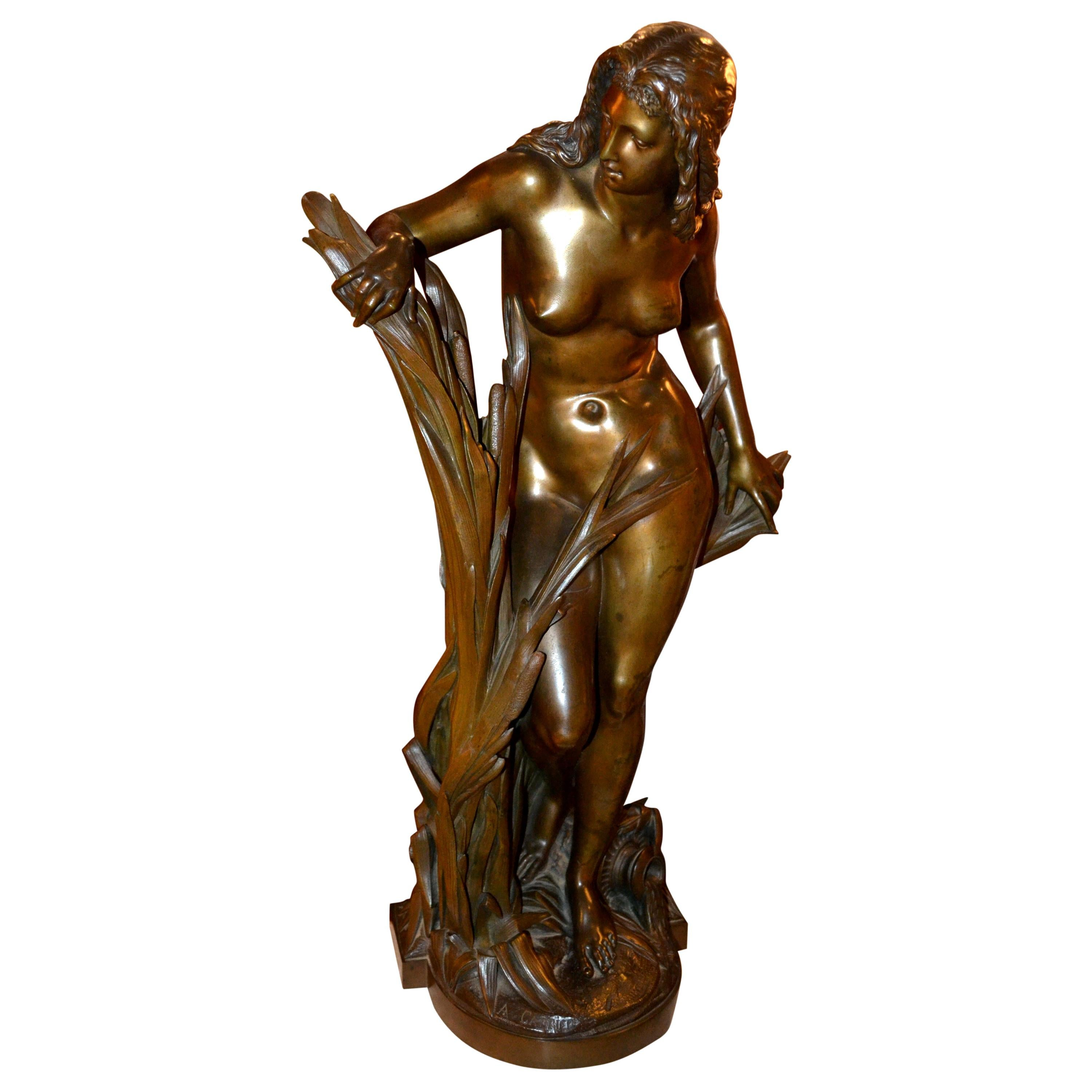 19th Century Bronze Statue of a Nymph by A. Carrier