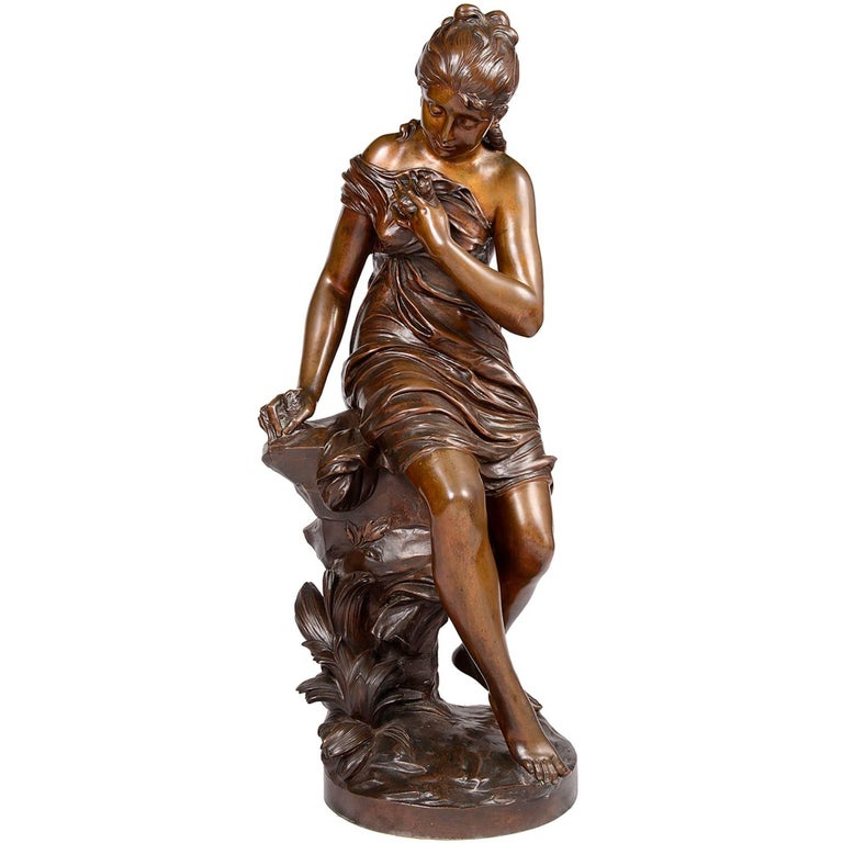 19th Century Bronze Statue of a Young Girl Holding a Bird For Sale