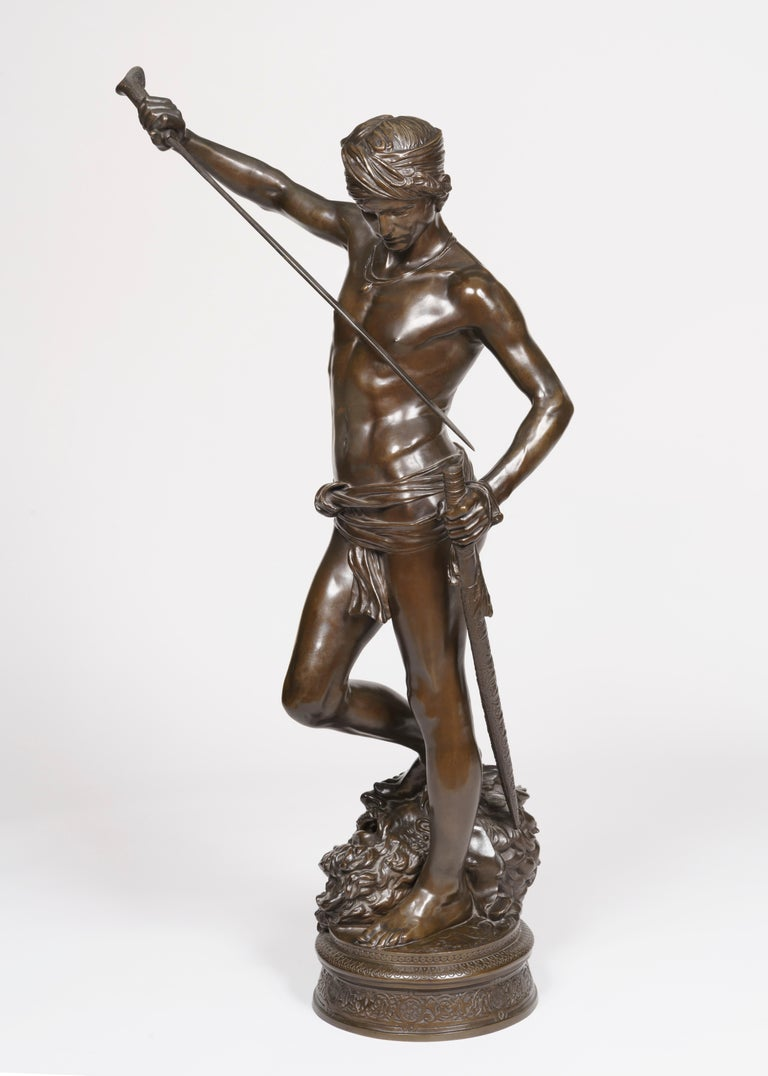 'David, the conqueror of Goliath' An exceptional Barbedienne cast of the statue executed by J.A. Mercié  Of good size, using very finely cast and chased patinated bronze, depicting the young David with the head of Goliath at his feet, on a