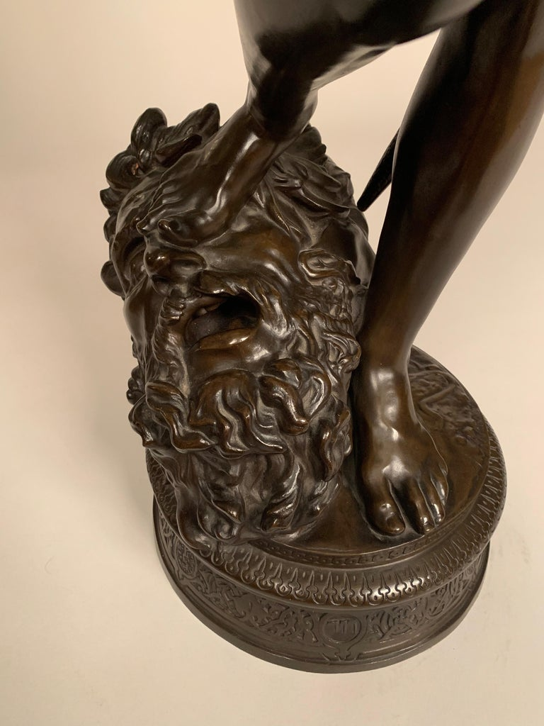 French 19th Century Bronze Statue of David by J.A. Mercié & Barbedienne For Sale